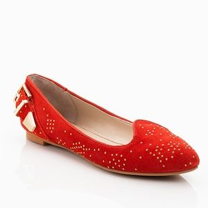 Shoemint Red Flats, Gorgeous Gold Detail & Buckle